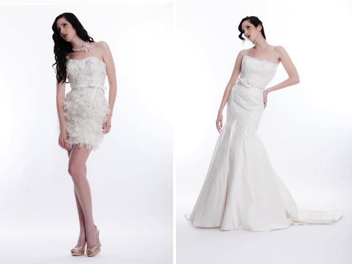 Short Ivory Wedding Reception Dress Embellished With