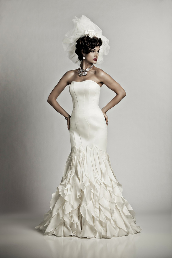 Sultry ivory silk mermaid wedding dress with sweetheart neckline