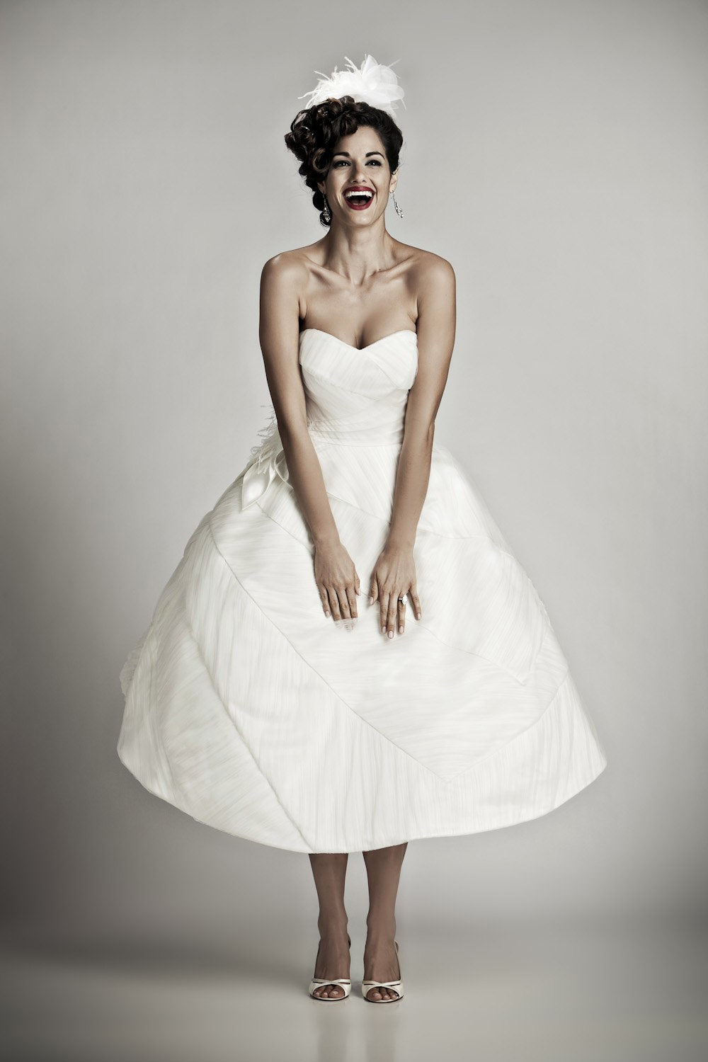 Ivory Tea Length Vintage Inspired Bridal Gown With Sweetheart Neckline
