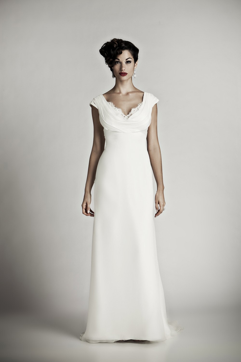 Simple ivory cowl neck column wedding dress like Pippa Middleton's royal wedding gown