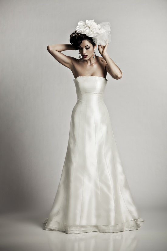 Classic ivory silk shantung strapless a-line wedding dress