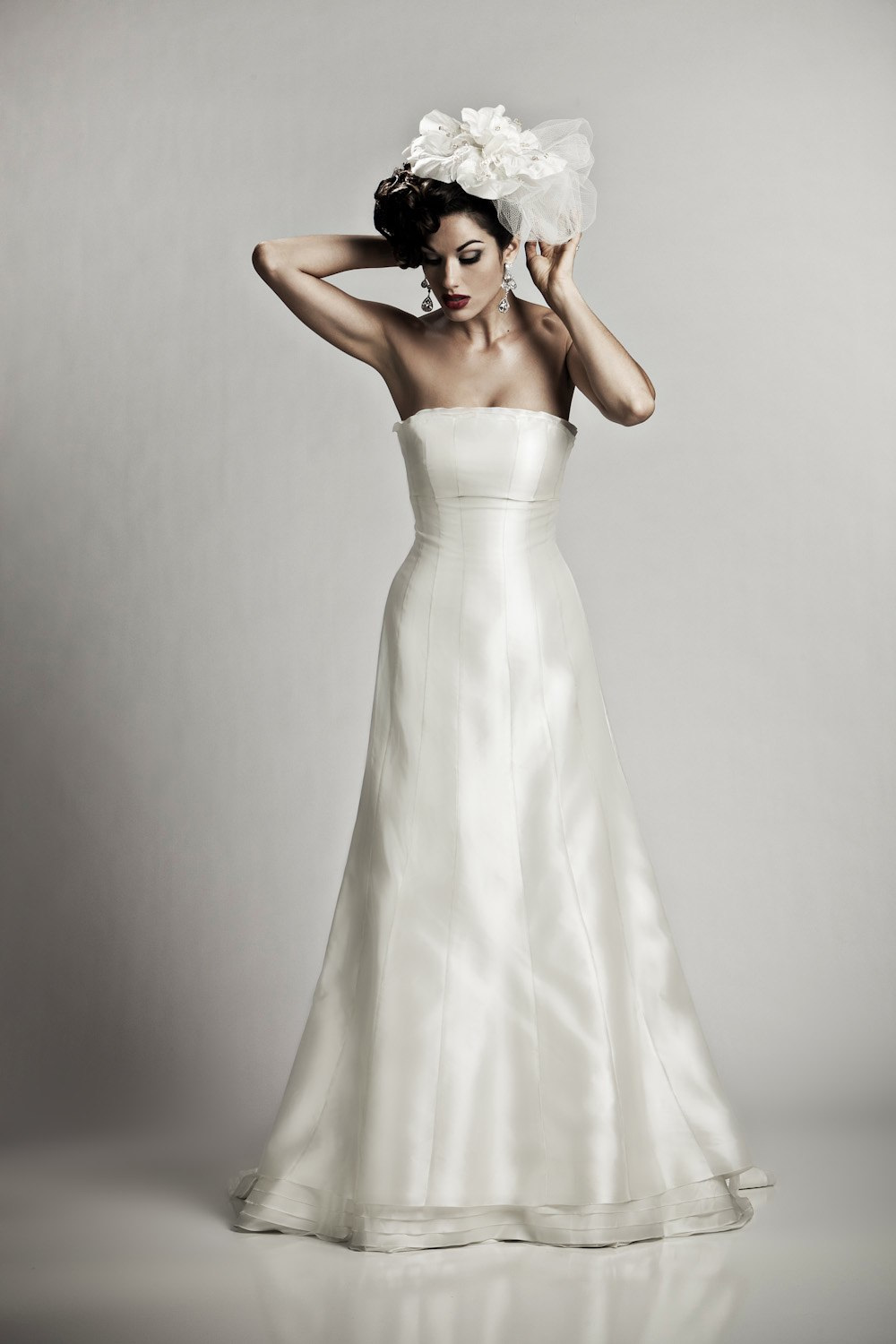 classic ivory silk shantung strapless a line wedding dress