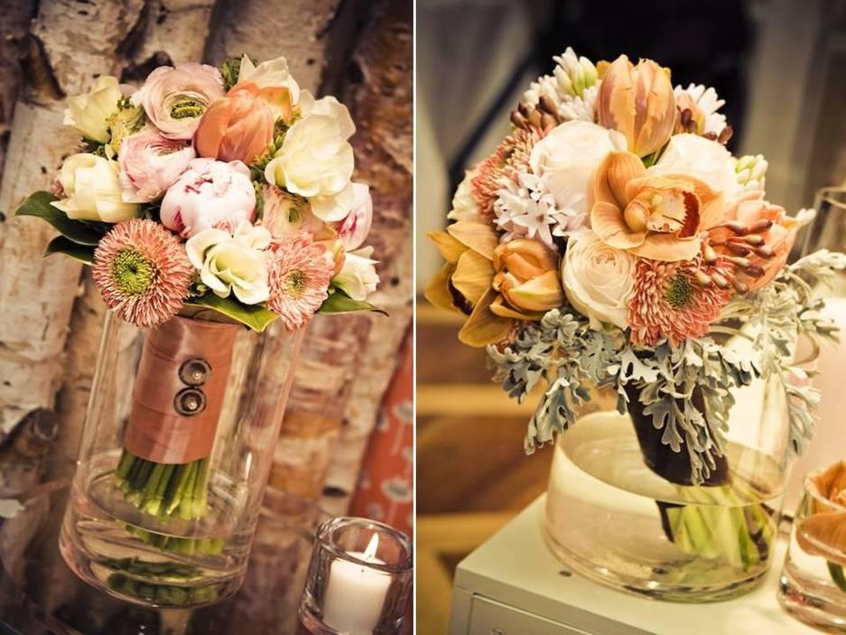 Romantic pastel bridal bouquet and coral wedding flower ...
