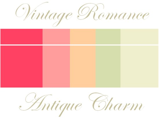 Vintage wedding color palette of soft peaches and pinks, taupe, sage and coral