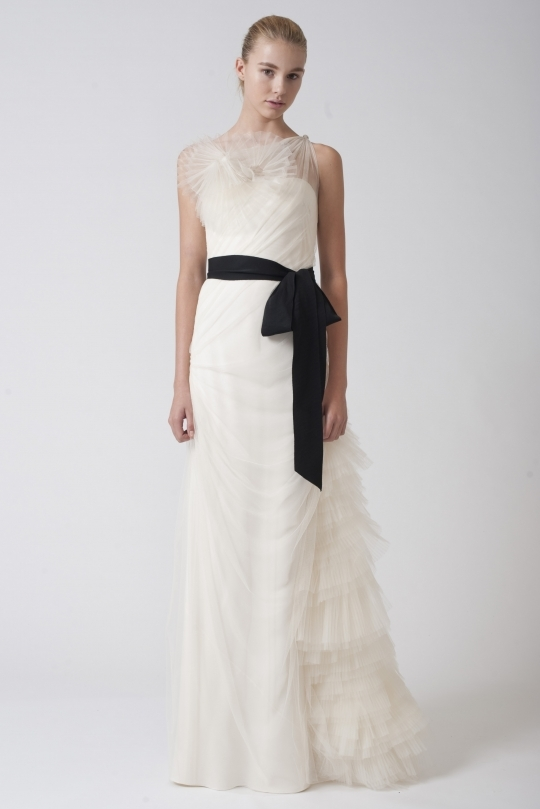 Vera Wang 2011 ivory wedding dress with black sash and illusion neckline