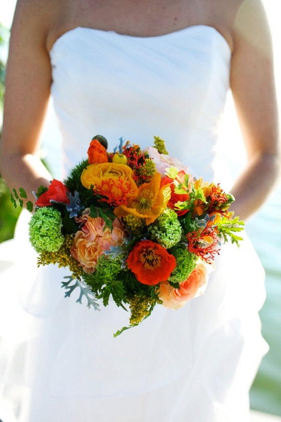 Tangerine and greens bridal bouquet