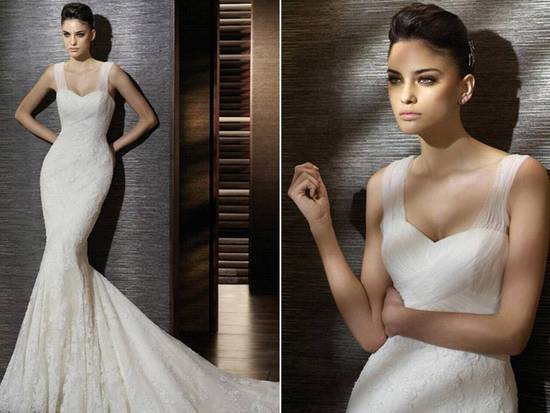 Romantic ivory mermaid San Patrick wedding dress with illusion sleeves