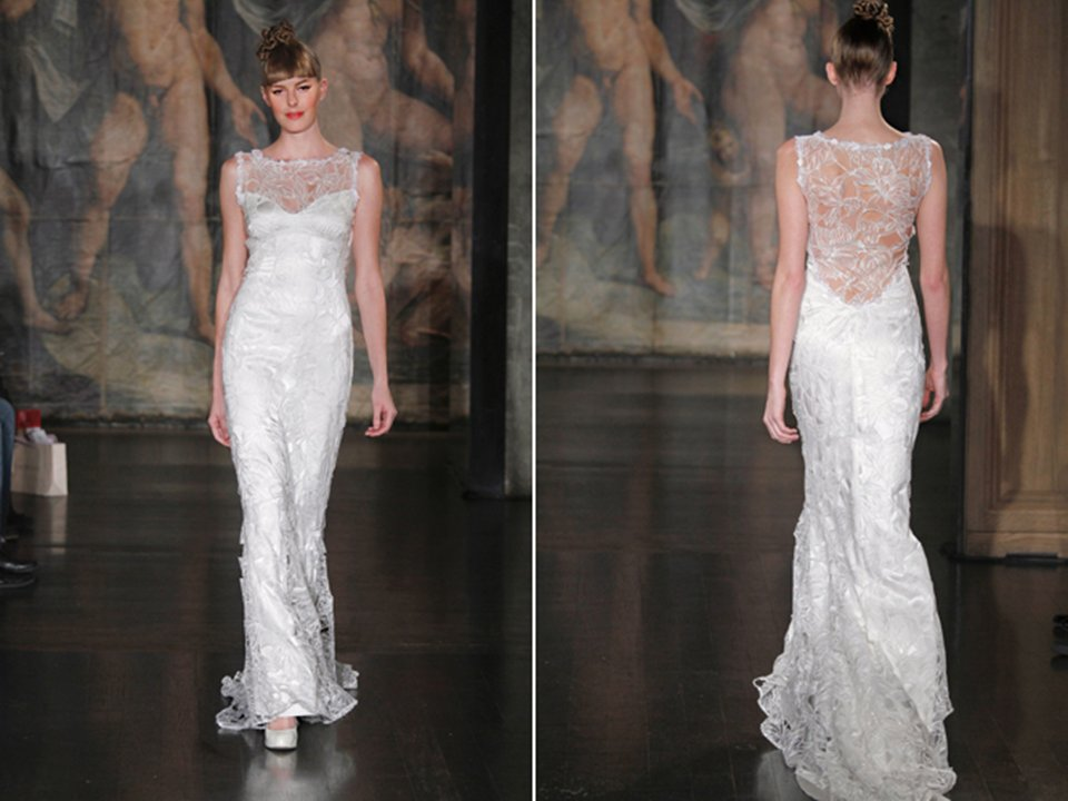Stunning Claire Pettibone silk embellished bridal gown with illusion neckline