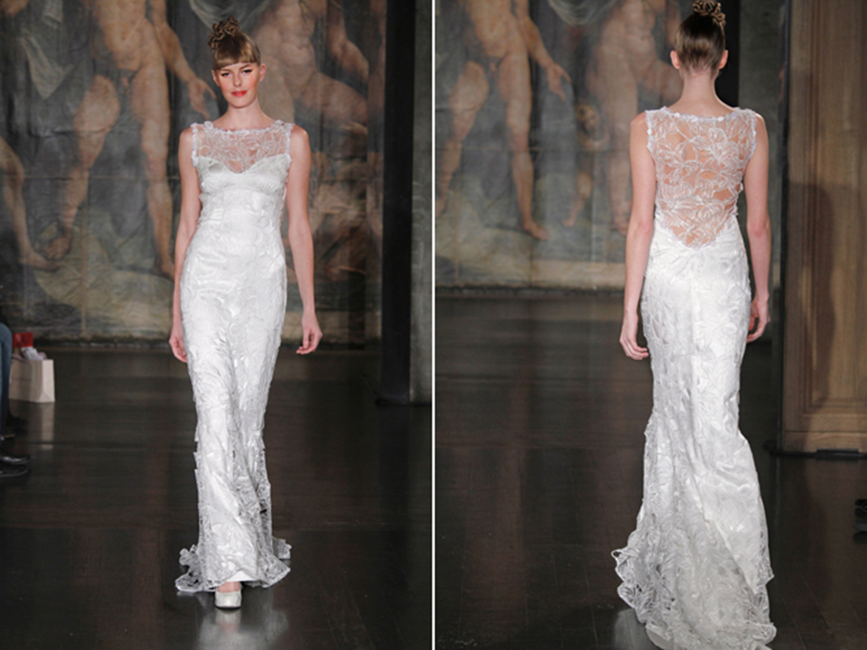 Stunning claire pettibone silk embellished bridal gown for Wedding dress with illusion top