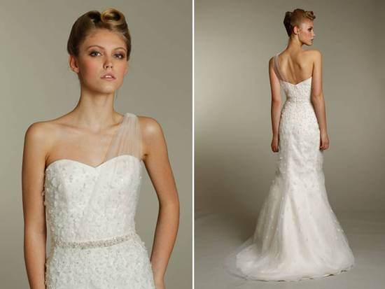 Chic ivory mermaid wedding dress with one shoulder created with sheer illusion fabric