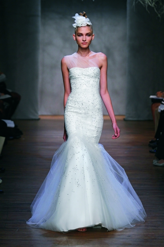 One-shoulder Monique Lhuillier mermaid wedding dress with one-shoulder illusion neckline