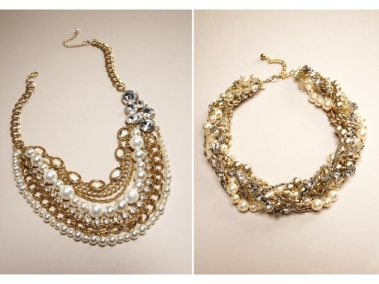 Stunning gold, pearl and rhinestone statement wedding necklaces