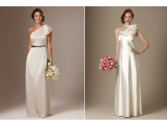 Sultry ivory silk one-shoulder column bridal gown and modified a-line wedding dress