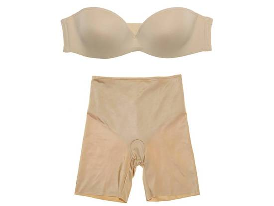 Simple nude underwear for underneath your wedding dress- strapless supportive bra and smoothing Span