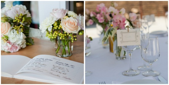 California real wedding pink and white reception decor