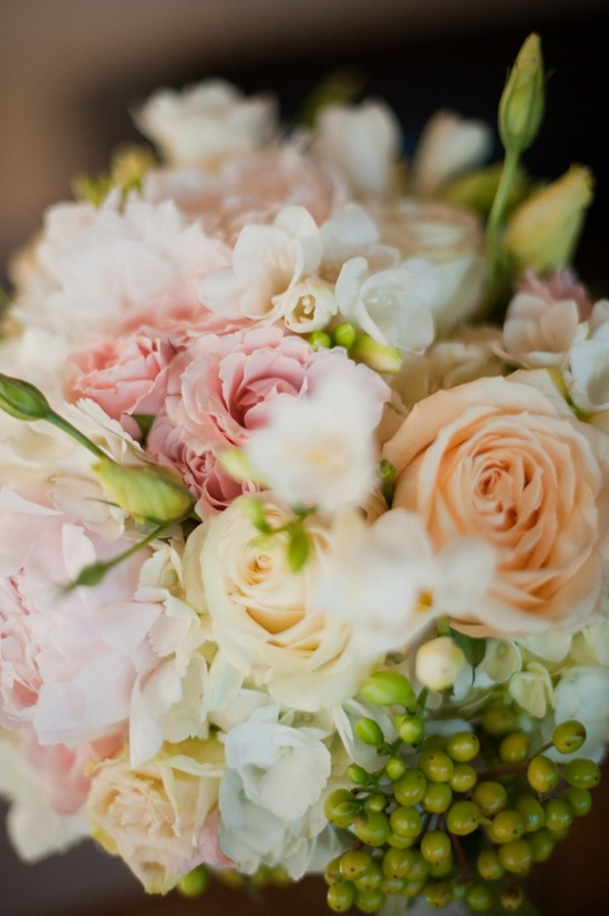 Bridal bouquet pink ivory and peach