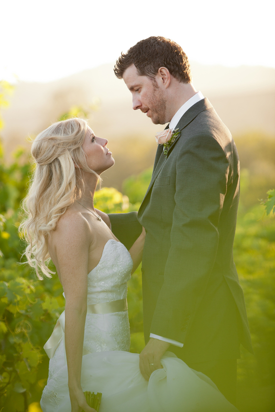 Real bride and groom in North California vineyard