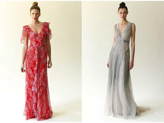 Bold chiffon v-neck gown and metallic modified mermaid dress by Carolina Herrera