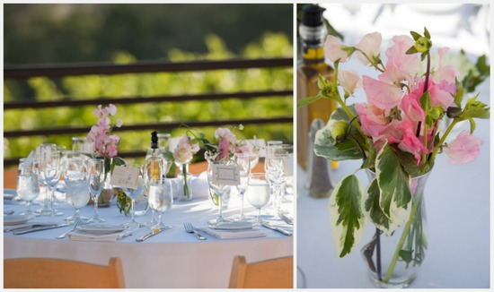 Simple reception decor with pink sugar pea flowers