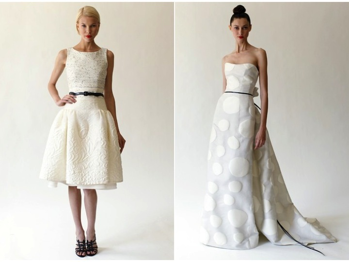 Chic Bateau Neck Little White Dress And Strapless Modified A Line Wedding By Carolina Herrera