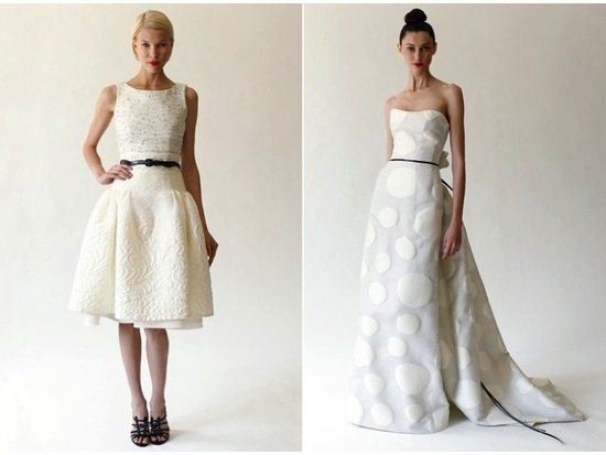 Chic bateau neck little white dress and strapless modified a-line wedding dress by Carolina Herrera