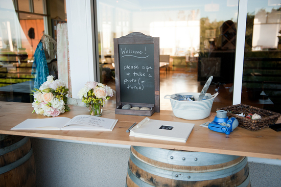 Vineyard wedding guest book table
