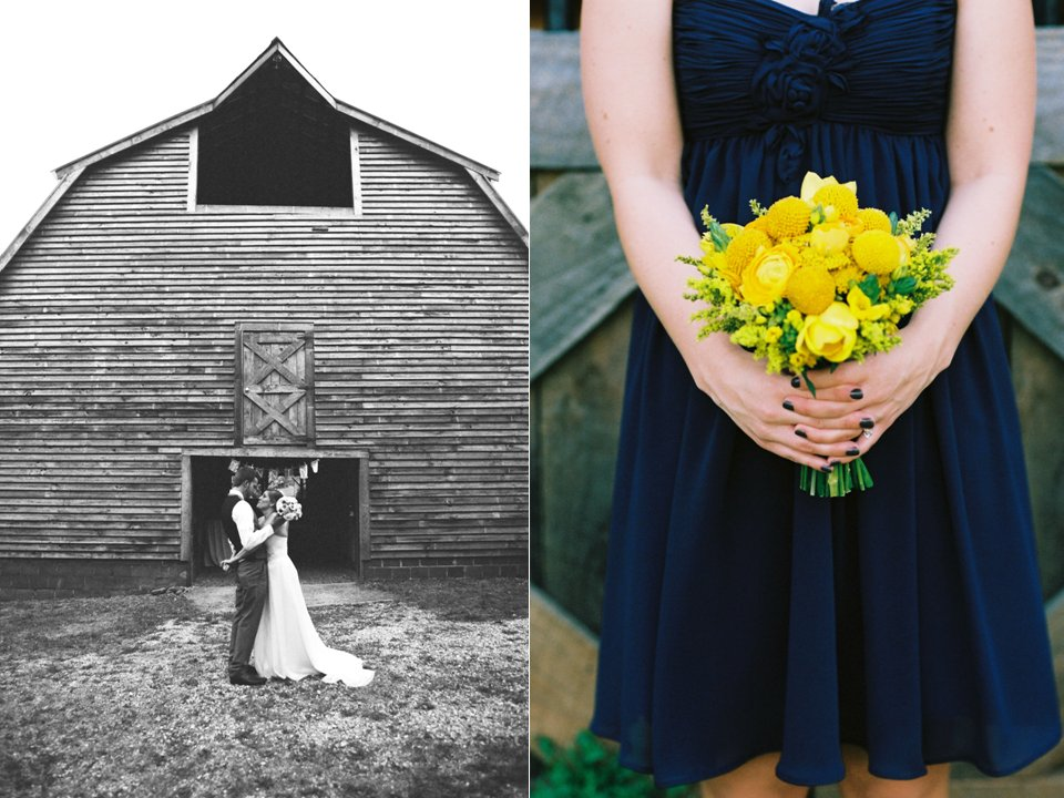 Rustic-chic-outdoor-wedding-venue-wedding-ideas-navy-blue-bridesmaids-dresses-yellow-wedding-flowers.full