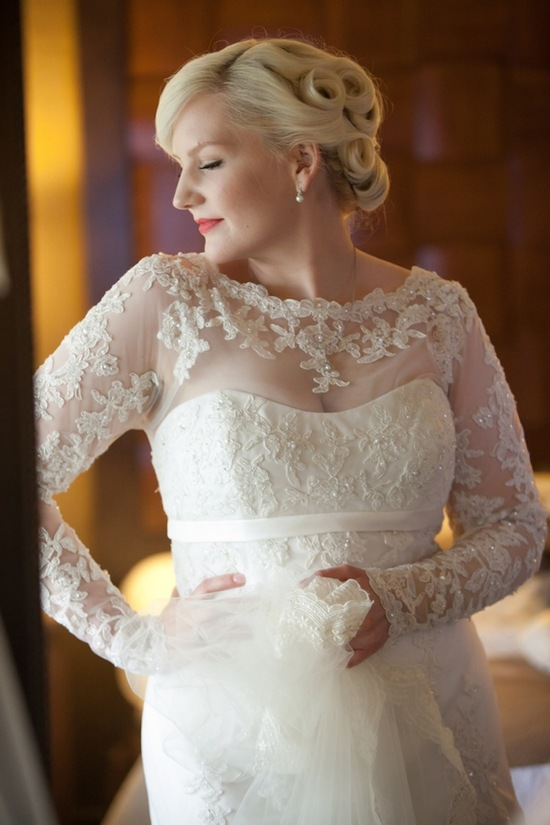 photo of Bridal beauty with pinup and lace gown