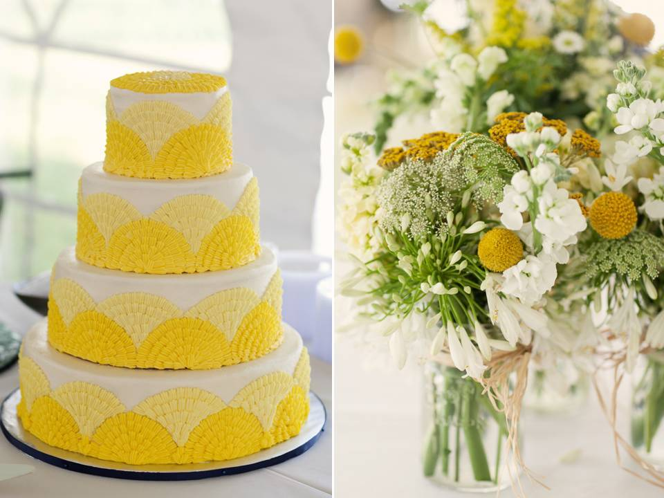 White and yellow 4-tier round wedding cake and whimsical wedding ...