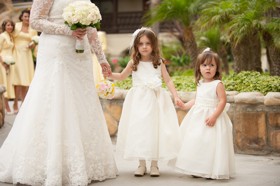 Real wedding flower girls in white
