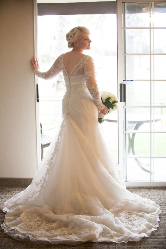Wedding dress with lace and crystal applique