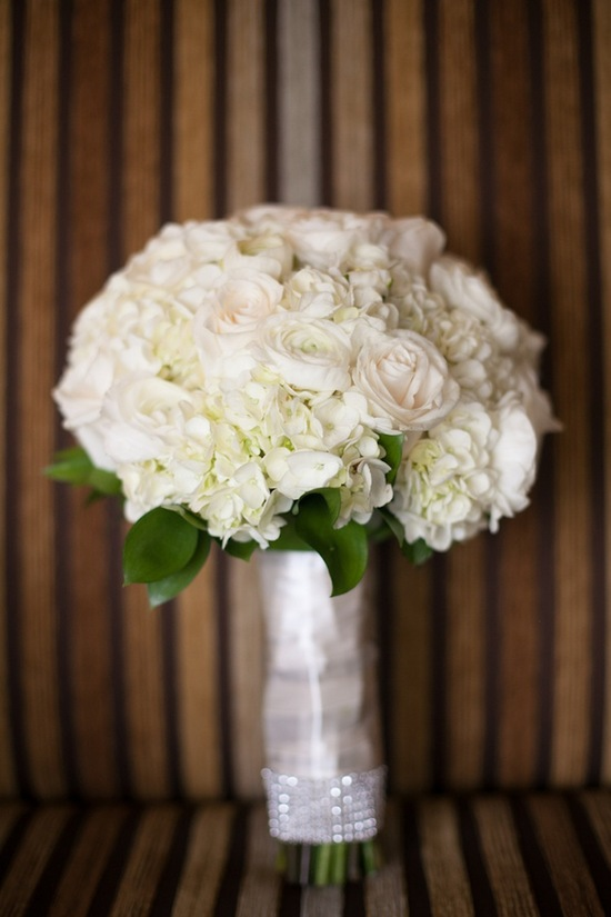 White rose and hydrangeas bridal bouquet