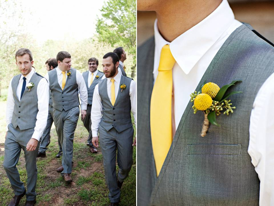Stylish TN groom and groomsmen wear grey tailored suits and sunny yellow ties