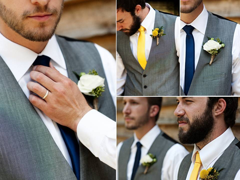 Spring wedding- groom wears grey tailored suit and yellow tie