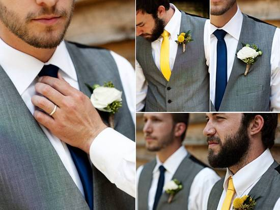 Casual Spring wedding- groom wears grey tailored suit and yellow tie