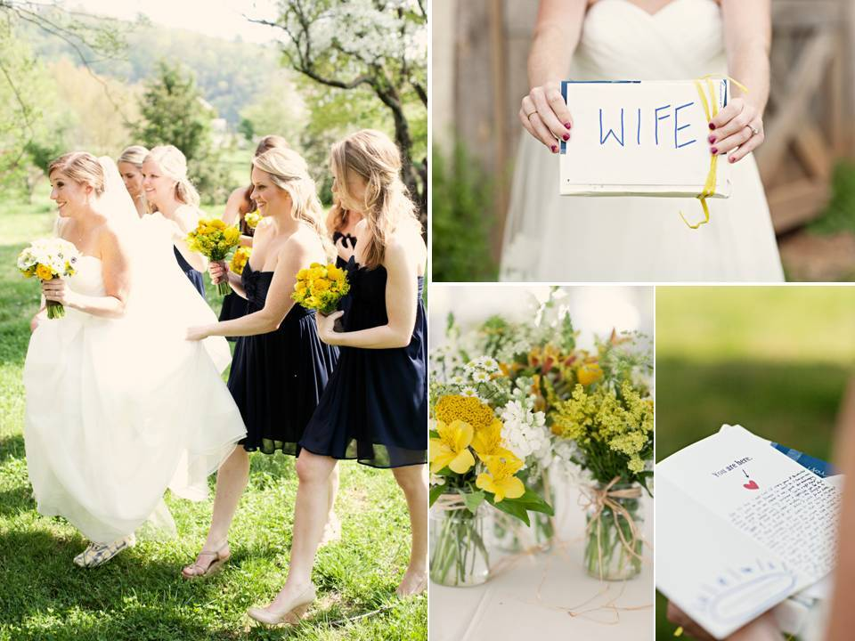 Bright-outdoor-spring-wedding-real-weddings-photography-navy-blue-bridesmaids-dresses-yellow-wedding-flowers.full