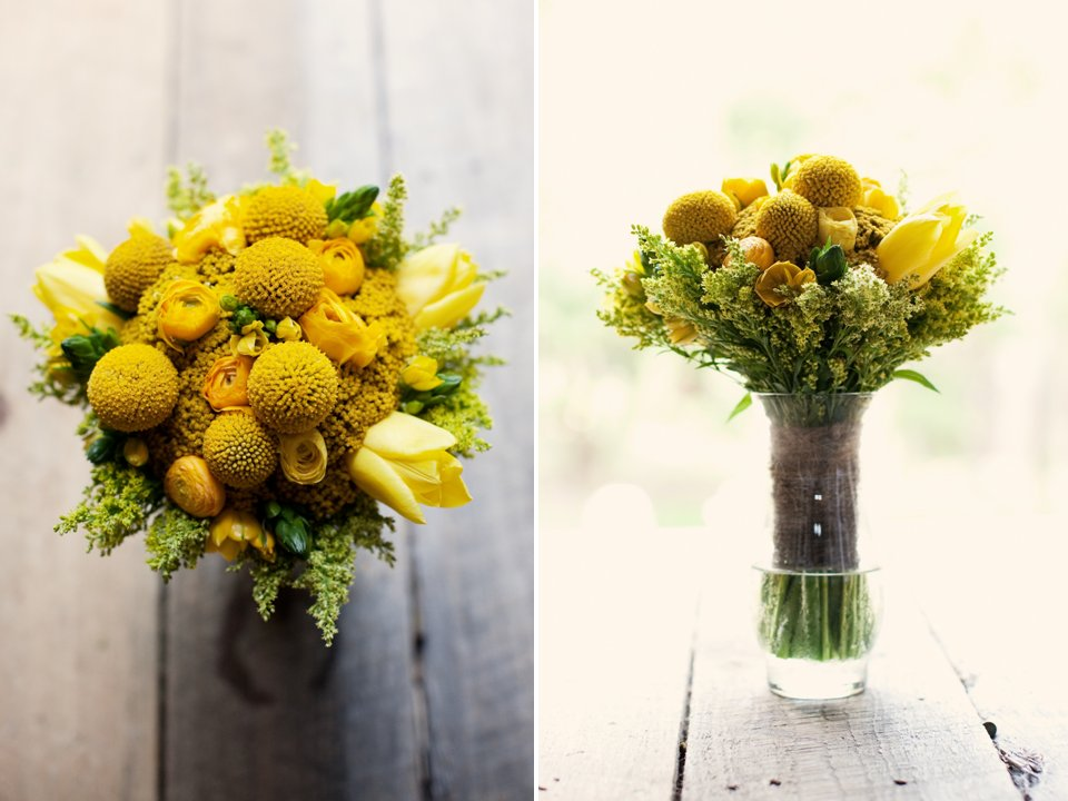 Bright yellow Spring wedding flowers and bridesmaid bouquet