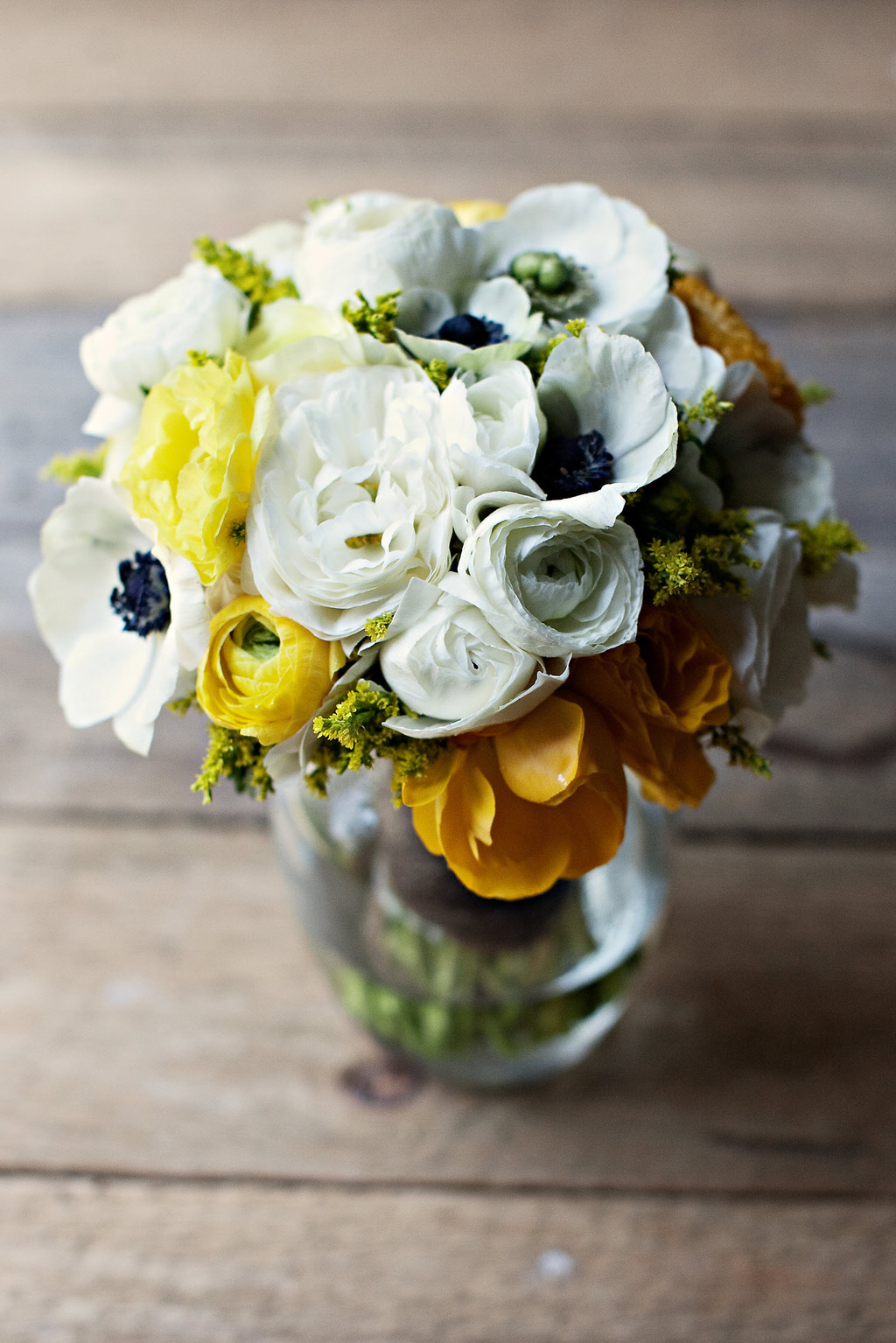 Romantic Ivory And Yellow Spring Bridal Bouquet