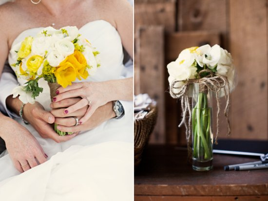 Rustic chic outdoor wedding in Tennessee with yellow and white wedding flowers