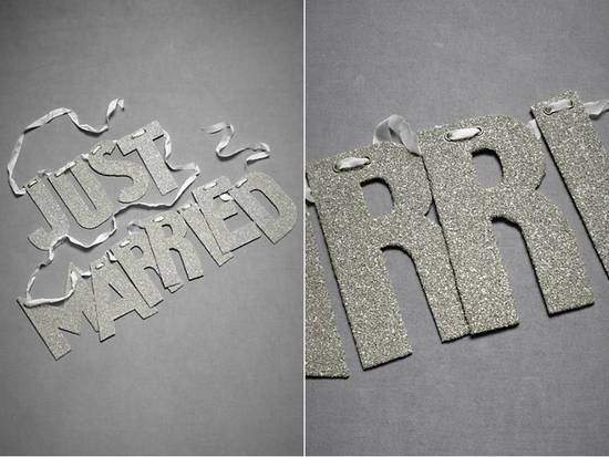 Metallic silver Just Married wedding sign for wedding day transportation