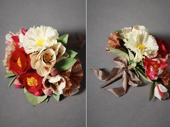 Romantic and vintage-inspired paper poppy bridal bouquet