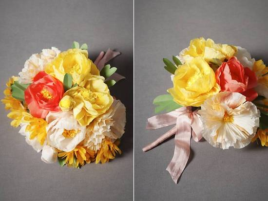 Vibrant citrus bridal bouquet of paper poppies by BHLDN