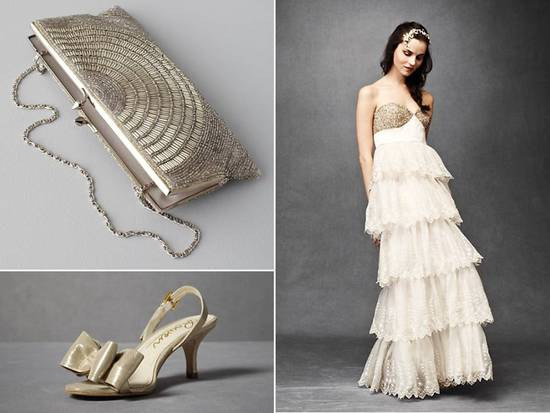 Metallic vintage chic BHLDN bridal clutch, wedding dress and heels