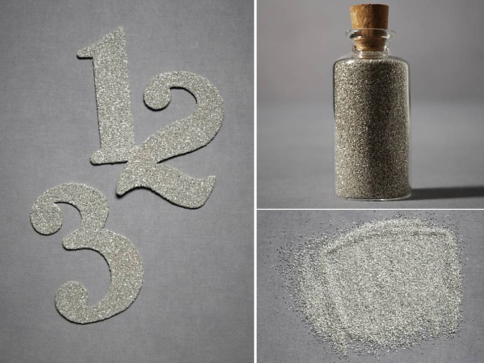 Sparkly silver metallic wedding reception table numbers and sparkly