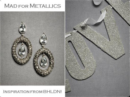 Chic bridal earrings and metallic silver LOVE wedding reception sign from BHLDN