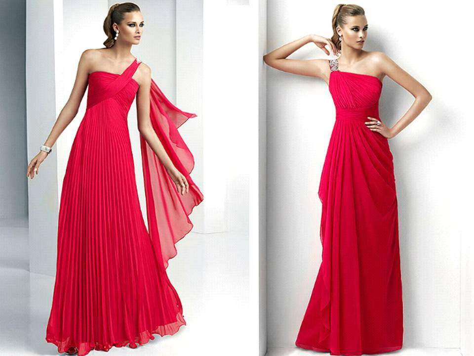 One Shoulder Grecian Prom Dresses Red-bridesmaids-dresses-one-