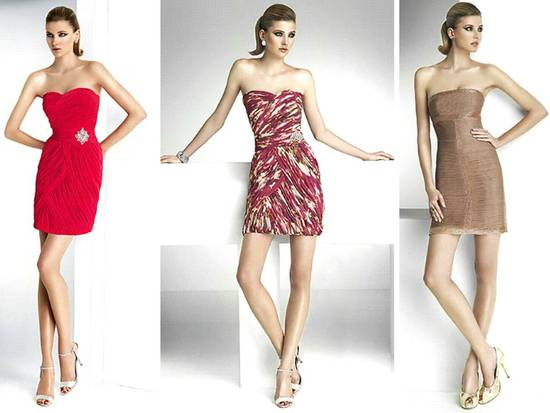 Modern bridesmaid dress styles- short strapless Herve Leger-inspired bandage dresses