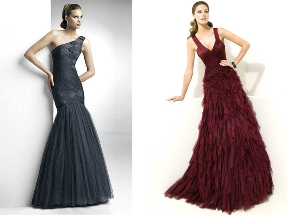 One-shoulder charcoal grey and burgundy v-neck bridesmaids dresses