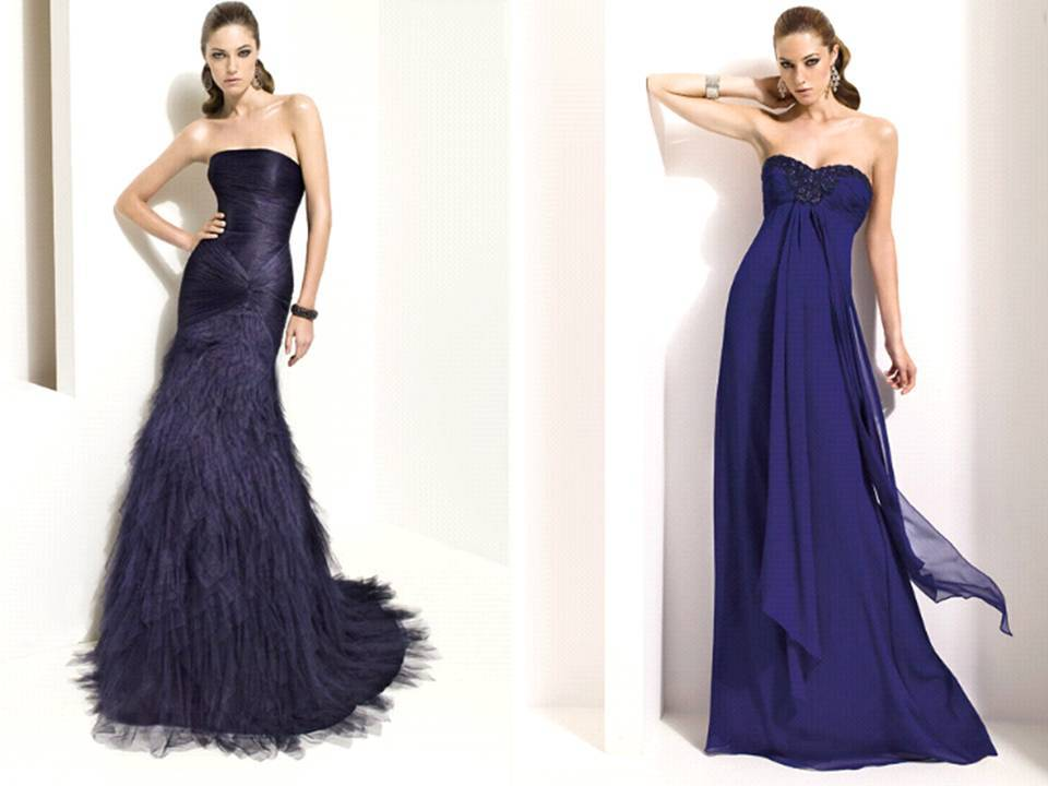 bridesmaids' dresses in midnight blue for fall or winter wedding