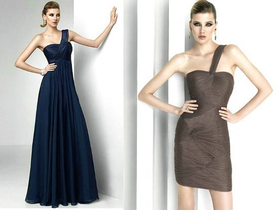Romantic midnight blue and chocolate brown one-shoulder Pronovias dresses